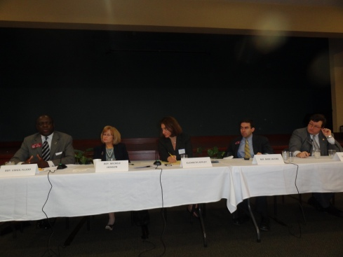 JCRC legislative panel February 25, 2013 at the Selig Center. Left to right: Rep. Virgil Fludd (Tyrone), Rep. Michele Henson (Stone Mountain), Moderator Elizabeth Appley, Rep. Mike Jacobs (Brookhaven) and Sen. Josh McKoon. (Columbus).
