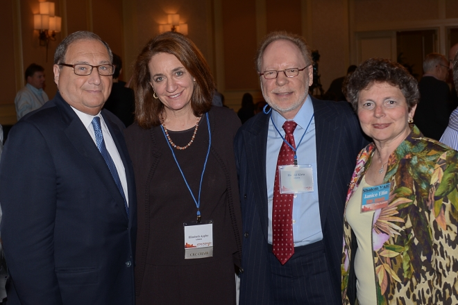 Abraham Foxman, National Director of the Anti-Defamation League, was honored for his 50 years of service to the Jewish Community. Mr. Foxman, who is retiring next year, was honored at the JCPA Plenum held in Atlanta. Mr. Foxman is joined by (L-R) JCRC Atlanta President Elizabeth Appley, JCRC Atlanta Past President Harold Kirtz, and JCRC Atlanta Board Member Janice Ellin.