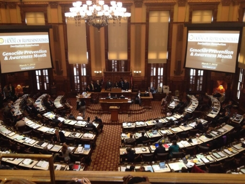 JCRC Atlanta Board Member Melanie Nelkin addressing the Georgia House of Representatives to declare April as Genocide Prevention and Awareness Month in Georgia.